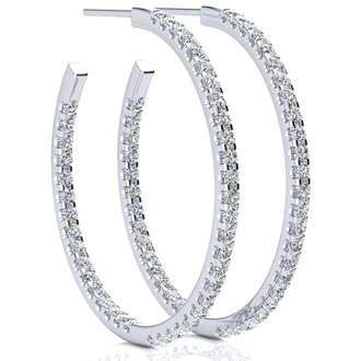 2CT DIAMOND HOOP EARRINGS IN 14K WHITE GOLD