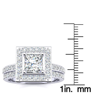 2 Carat Princess Cut Halo Diamond Bridal Set in 14k White Gold