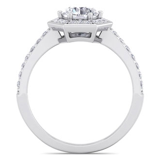 1 1/2 Carat Vintage Inspired Halo Diamond Engagement Ring in 14 Karat White Gold