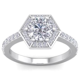 2 Carat Vintage Inspired Halo Diamond Engagement Ring in 14 Karat White Gold