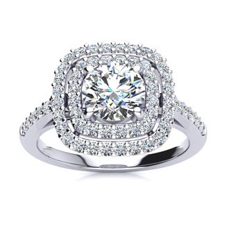 1 1/2 Carat Double Halo Diamond Engagement Ring in 14k White Gold