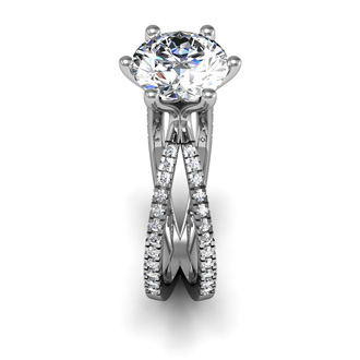 Contemporary 2.25 Carat  Engagement Ring With 48 Side Diamonds in 14K White Gold