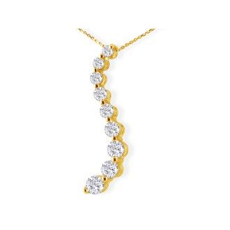14k Curve Style 3/4ct 9 Diamond Journey Pendant, Yellow Gold