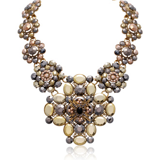 Metallic Floral Statement Necklace