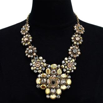 Metallic Floral Statement Necklace