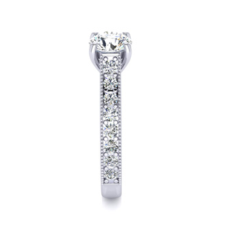 1 1/2 Carat Round Solitaire Engagement Ring With 1 Carat Center Diamond In 14K White Gold