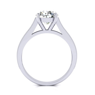 2 1/2 Carat Round Diamond Engagement Ring With 2 Carat Center Diamond In 14K White Gold
