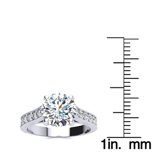 2 1/2 Carat Round Solitaire Engagement Ring With 1 Carat Center Diamond In 14K White Gold