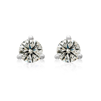 3/4ct Diamond Studs in 14k White Gold Martini Setting