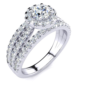1 1/2 Carat Round Halo Diamond Engagement Ring in 14k White Gold. Tons Of Sizzling Diamonds!  Gorgeous Ring and Huge For The Money