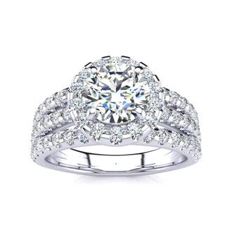 2 Carat Round Halo Diamond Engagement Ring in 14k White Gold