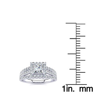 1 Carat Elegant Princess Cut Halo Diamond Engagement Ring In 14 Karat White Gold