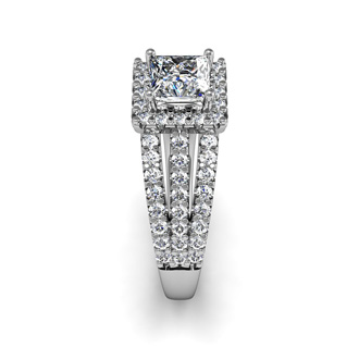 1 1/2 Carat Elegant Princess Cut Halo Diamond Engagement Ring In 14 Karat White Gold