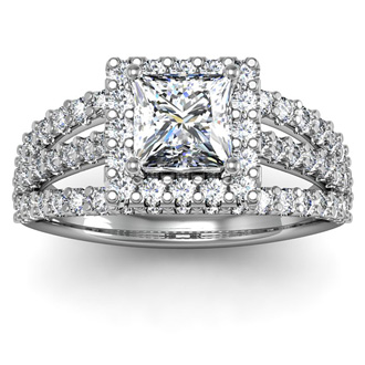 2 Carat Elegant Princess Cut Halo Diamond Engagement Ring In 14 Karat White Gold