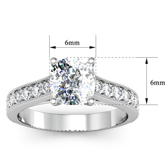 1 1/2 Carat Diamond Engagement Ring With 1 Carat Cushion Cut Center Diamond In 14K White Gold