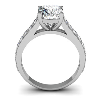 2 Carat Diamond Engagement Ring With 1 1/2 Carat Cushion Cut Center Diamond In 14K White Gold