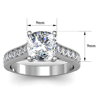 2 Carat Cushion Cut Solitaire Engagement Ring