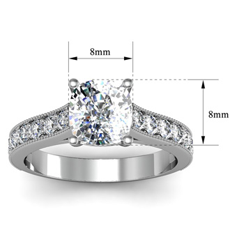 2 1/2 Carat Diamond Engagement Ring With 2 Carat Cushion Cut Center Diamond In 14K White Gold