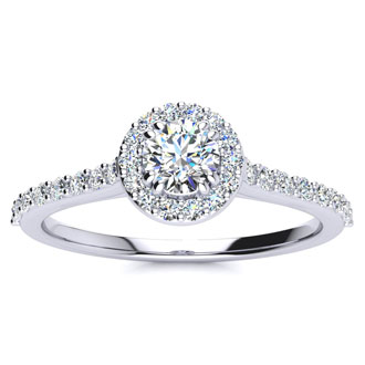 1/2 Carat Halo Diamond Engagement Ring in 14k White Gold