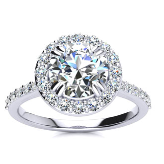 2 Carat Halo Diamond Engagement Ring in 14k White Gold