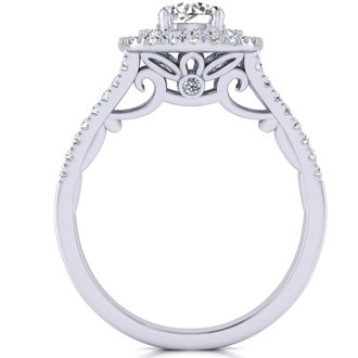 1 Carat Double Halo Diamond Engagement Ring in 14k White Gold