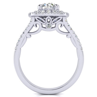 1 1/4 Carat Double Halo Diamond Engagement Ring in 14k White Gold