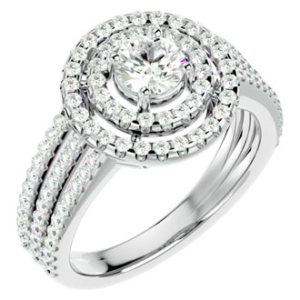 1 1/2 Carat Double Halo Diamond Engagement Ring In 14 Karat White Gold