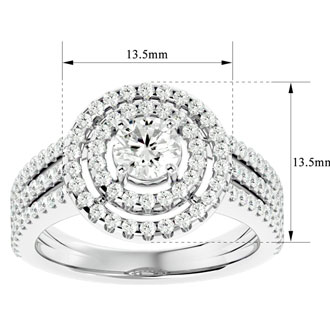 1 1/2 Carat Floating Double Halo Diamond Engagement Ring in 14k White Gold