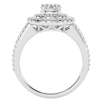 2 Carat Double Halo Engagement Ring in 14 Karat White Gold