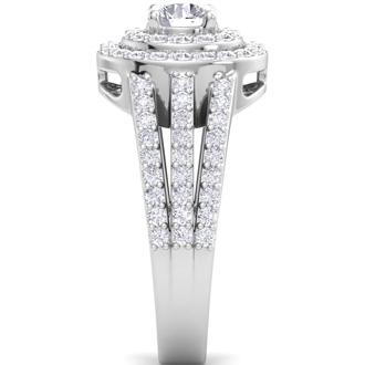 2 Carat Double Halo Diamond Engagement Ring In 14 Karat White Gold