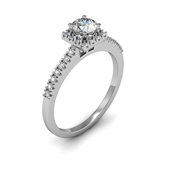 1/2 Carat Square Halo, Round Diamond Engagement Ring in 14k White Gold
