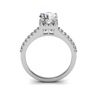 1.40 Carat Square Halo, Round Diamond Engagement Ring in 14k White Gold