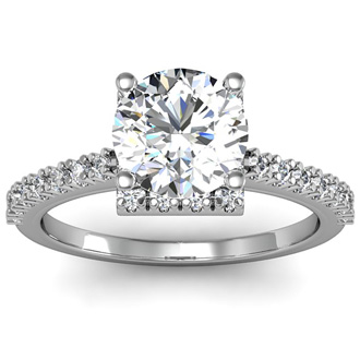 2 Carat Square Halo, Round Diamond Engagement Ring in 14k White Gold