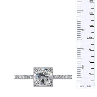 2 Carat Square Halo, Round Diamond Engagement Ring in 14k White Gold