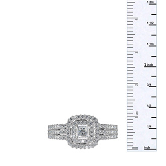 1 Carat Princess Cut Double Halo Diamond Engagement Ring in 14 Karat White Gold