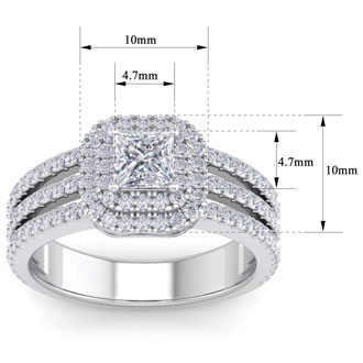 1 1/2 Carat Princess Shape Double Halo Diamond Engagement Ring In 14 Karat White Gold