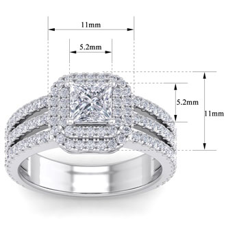 2 Carat Princess Shape Double Halo Diamond Engagement Ring In 14 Karat White Gold