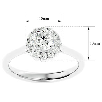 1 Carat Halo Diamond Engagement Ring In 14 Karat White Gold