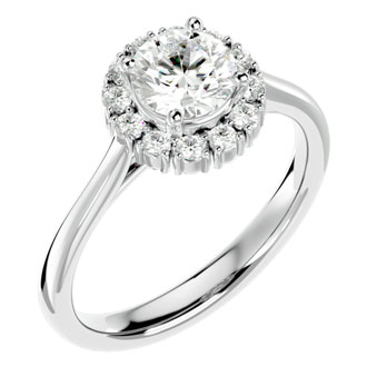 1 1/3 Carat Halo Diamond Engagement Ring In 14 Karat White Gold