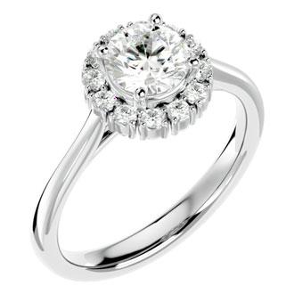 1 1/2 Carat Blooming Halo Diamond Engagement Ring in 14k White Gold