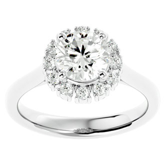 2 Carat Blooming Halo Diamond Engagement Ring in 14k White Gold