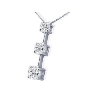 Popular, Large 1ct Three Diamond Pendant in 14k White Gold