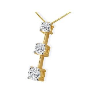 Popular, Large 1ct Three Diamond Pendant in 14k Yellow Gold