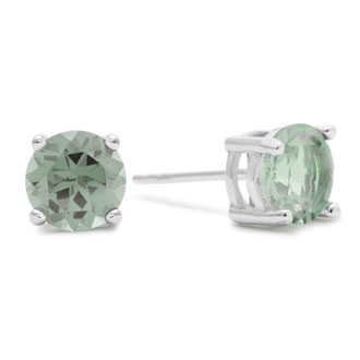 2ct Green Amethyst Earrings in Sterling Silver
