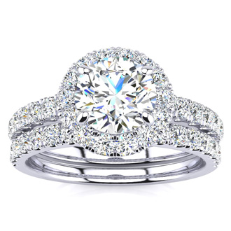 2 Carat Round Floating Halo Diamond Bridal Set in 14k White Gold