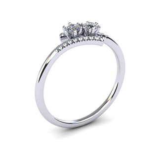 1/4 Carat Two Stone Diamond Ring In 14K White Gold