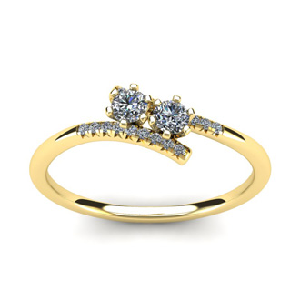 1/4 Carat Two Stone Diamond Ring In 14K Yellow Gold