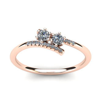 1/4 Carat Two Stone Diamond Ring In 14K Rose Gold