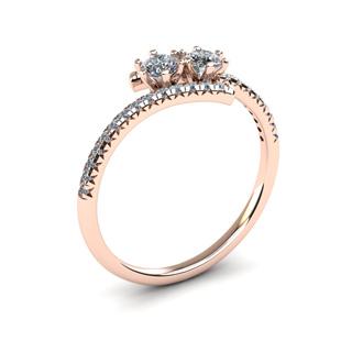 1/2 Carat Two Stone Diamond Ring In 14K Rose Gold