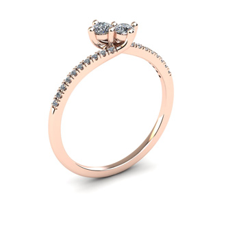 1/4 Carat Two Stone Diamond Bonded Love Ring In 14K Rose Gold